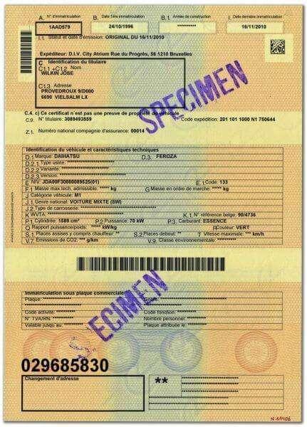 Carta di Circolazione - Belgio - Certificat d'immatriculation - Modello vecchio - Fronte