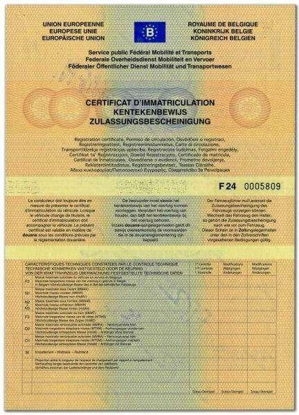 Carta di Circolazione - Belgio - Certificat d'immatriculation - Modello vecchio - Retro