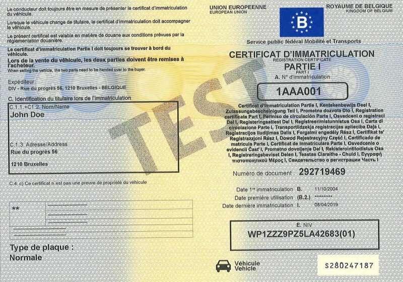 Carta di Circolazione - Belgio - Certificat d'immatriculation Belgio - Parte 1 - Fronte