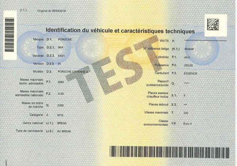 Carta di Circolazione - Belgio - Certificat d'immatriculation Belgio - Parte 1 - Retro