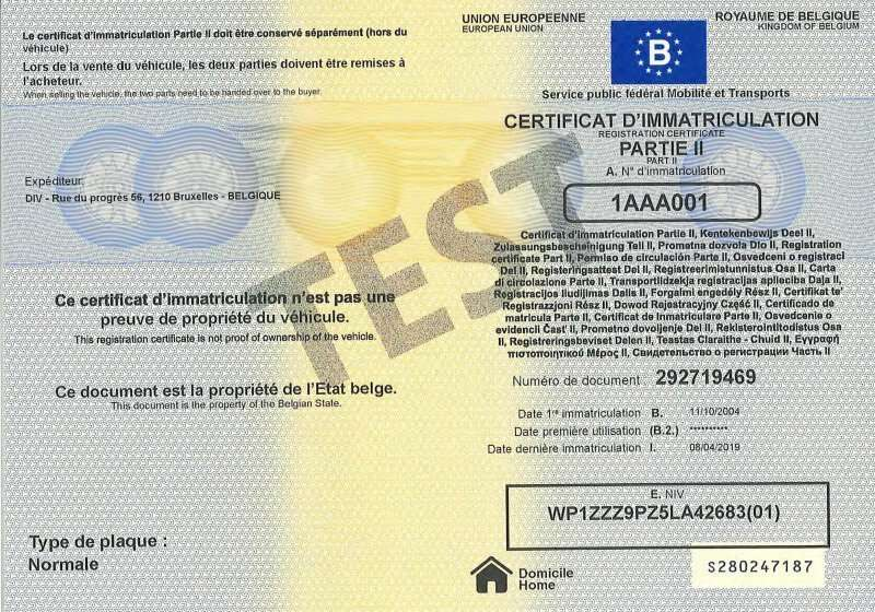 Carta di Circolazione - Belgio - Certificat d'immatriculation Belgio - Parte 2 - Fronte