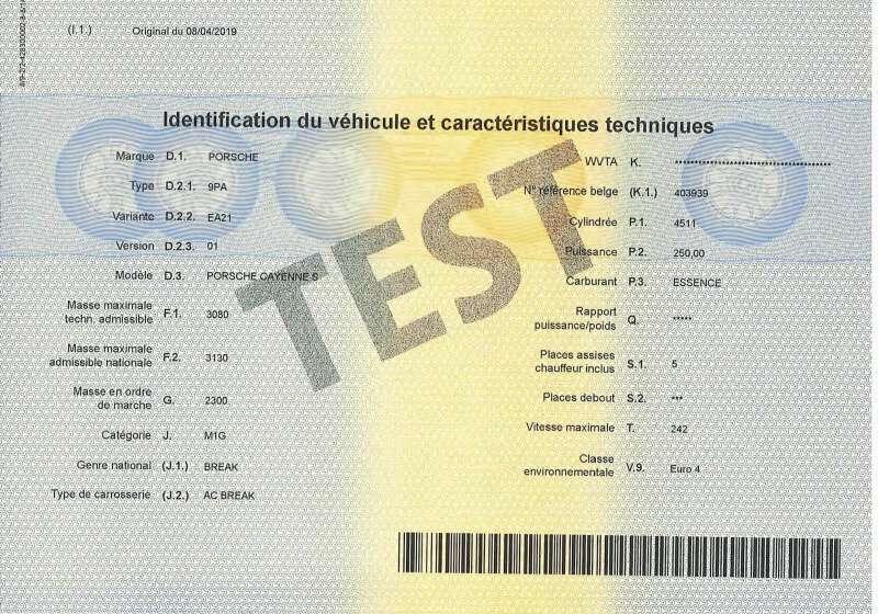 Carta di Circolazione - Belgio - Certificat d'immatriculation Belgio - Parte 2 - Retro