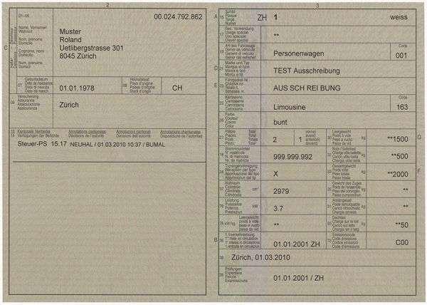 Carta di Circolazione - Svizzera - Carta di circolazione - Svizzera - Fronte
