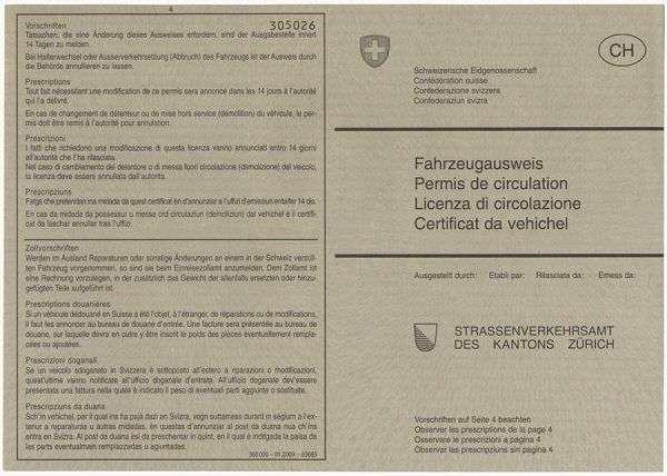 Carta di Circolazione - Svizzera - Carta di circolazione - Svizzera - Retro