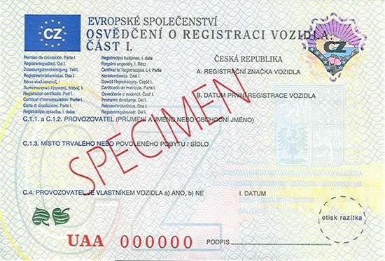Carta di Circolazione - Rep. Ceca - Osvědčení o Registraci Vozidla - Cast I - Fronte