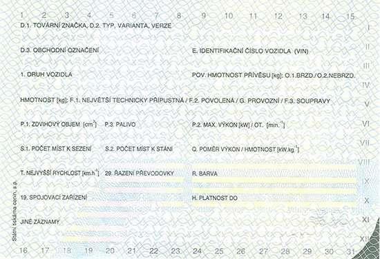 Carta di Circolazione - Repubblica Ceca - Osvědčení o Registraci Vozidla - Cast I - Retro