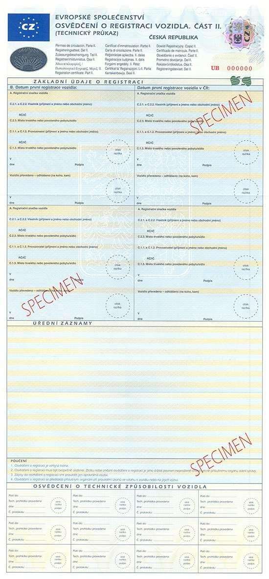 Carta di Circolazione - Rep. Ceca - Osvědčení o Registraci Vozidla - Cast II - Retro