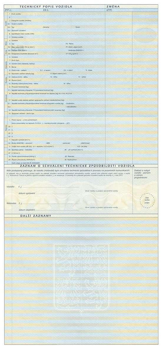 Carta di Circolazione - Repubblica Ceca - Osvědčení o Registraci Vozidla - Cast II - Fronte