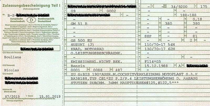 Zulassungsbescheinigungen Teil I (Fahrzeugschein) - Fronte