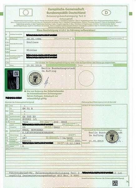 Zulassungsbescheinigungen Teil II (Fahrzeugbrief)