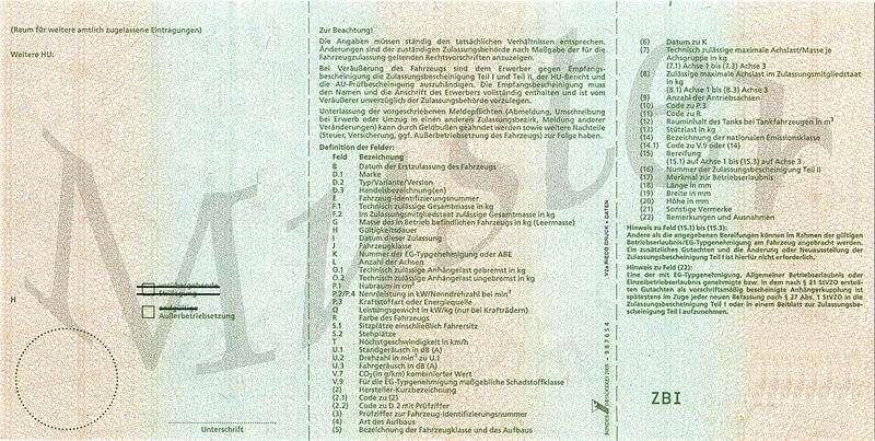 Zulassungsbescheinigungen Teil I (Fahrzeugschein) - Retro