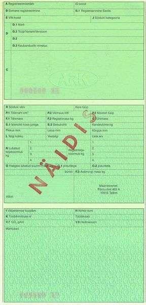Carta di Circolazione - Estonia - Sõiduki Registreerimistunnistus - Fronte