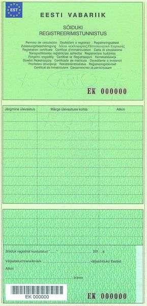Carta di Circolazione - Estonia - Sõiduki Registreerimistunnistus - Retro