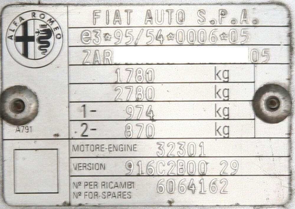Esempio Targhetta VIN Alfa Romeo