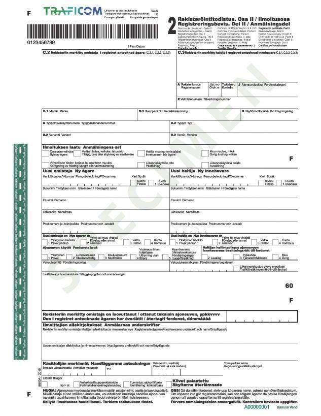 Carta di Circolazione - Finlandia - Rekisteröintitodistus - Del II (Osa II)