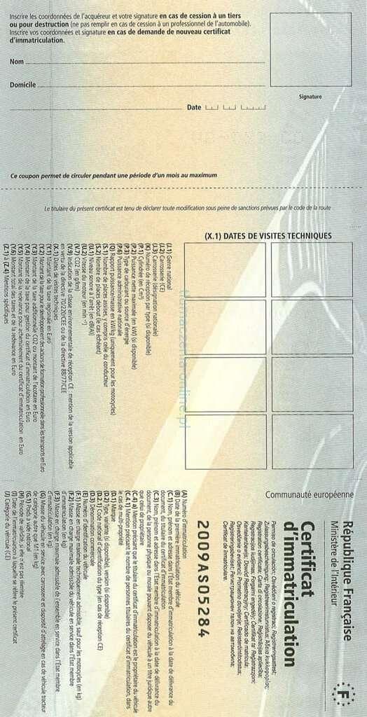 Carte grise (certificat d'immatriculation) - Retro