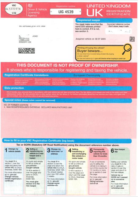 V5C Vehicle registration certificate (or logbook) - Pagina 1