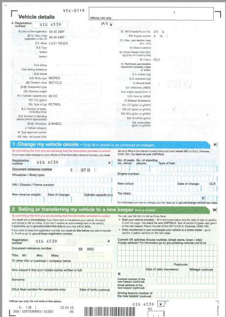 V5C Vehicle registration certificate (or logbook) - Pagina 2