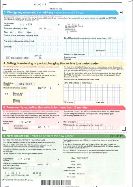 V5C Vehicle registration certificate (or logbook) - Pagina 3