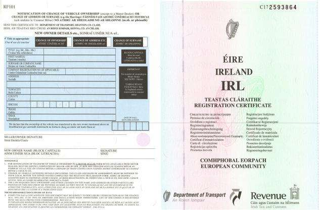 Carta di Circolazione - Irlanda - Teastas Claraithe - Fronte