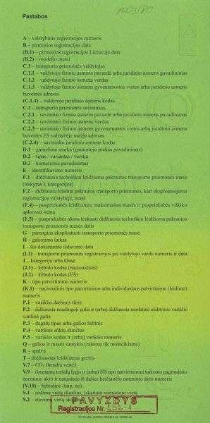 Carta di Circolazione - Lituania - Registracijos Liudijimas - Retro