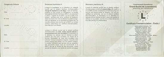 Carta di Circolazione - Lussemburgo - Certificat d'immatriculation - Partie 1 - Fronte