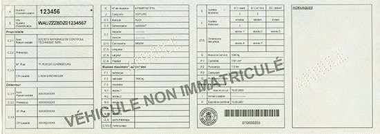 Carta di Circolazione - Lussemburgo - Certificat d'immatriculation - Partie 1 - Retro