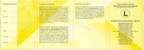 Carta di Circolazione - Lussemburgo - Certificat d'immatriculation - Partie 2 - Fronte