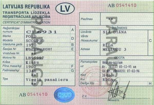 Carta di Circolazione - Lettonia - Transportlīdzekļa Reģistrācijas Apliecība - Fronte