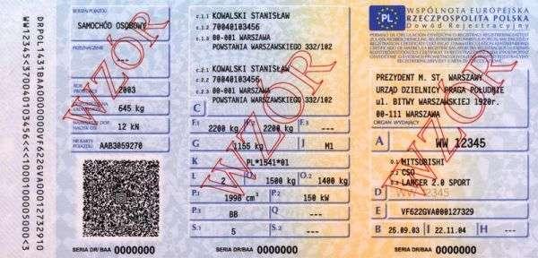 Carta di Circolazione - Polonia - Dowód Rejestracyjny - Fronte