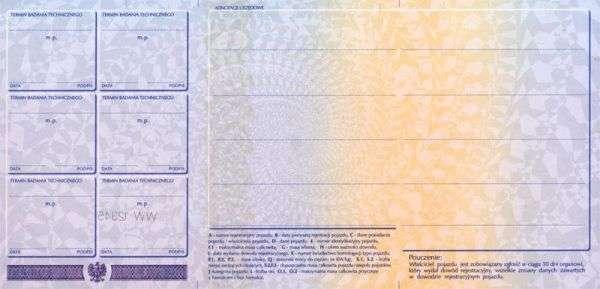 Carta di Circolazione - Polonia - Dowód Rejestracyjny - Retro