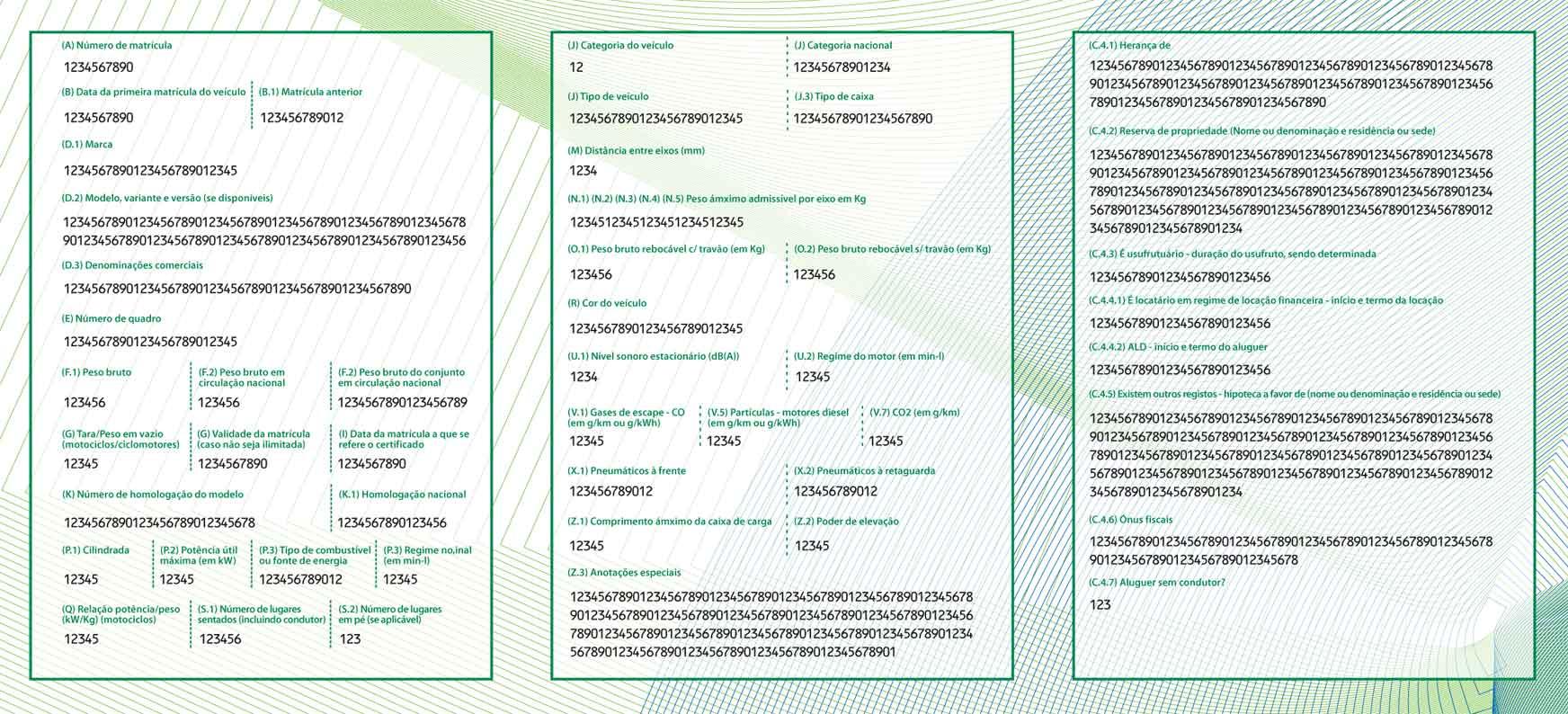 Carta di Circolazione - Portogallo - Certificado de Matrícula - Fronte