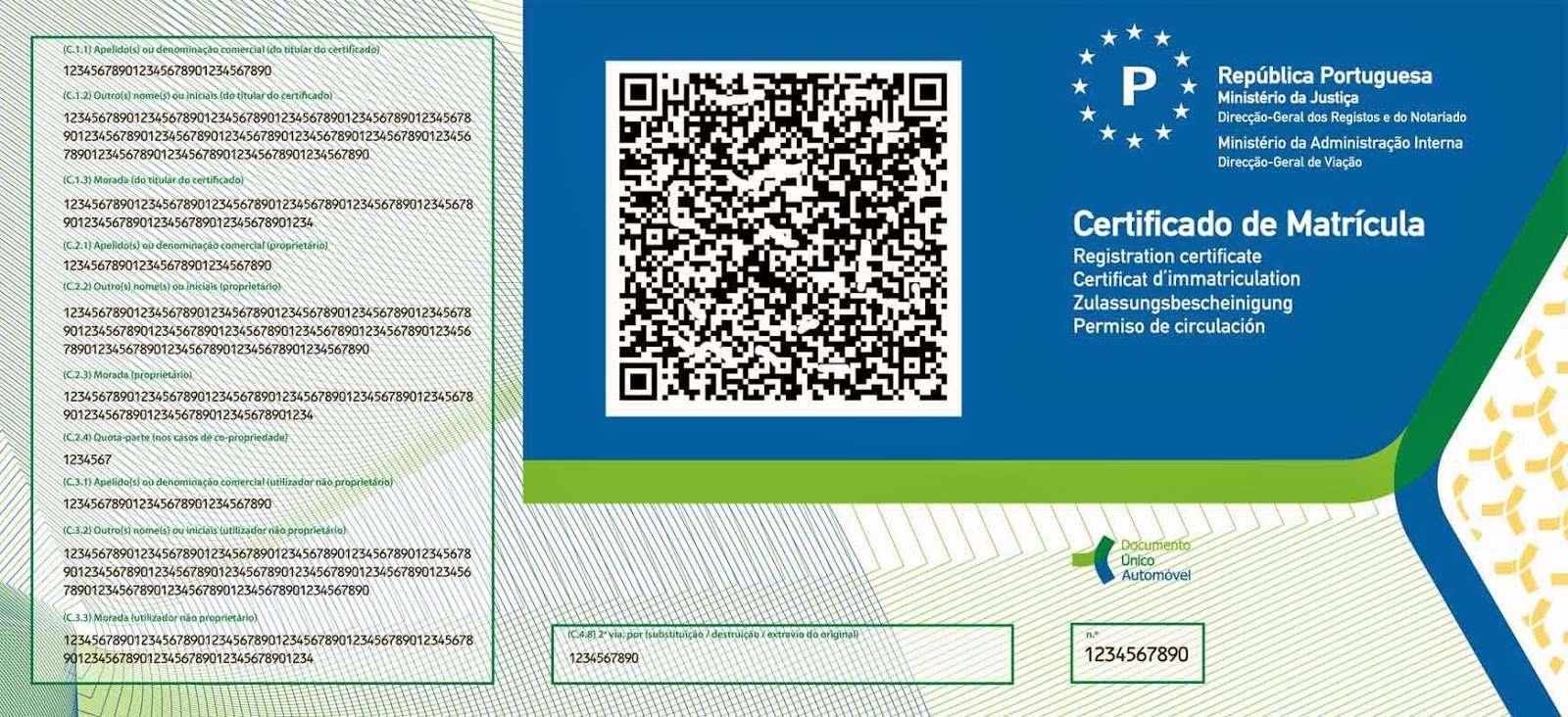 Carta di Circolazione - Portogallo - Certificado de Matrícula - Retro