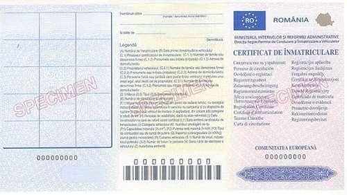 Certificat de Inmatriculare - Fronte