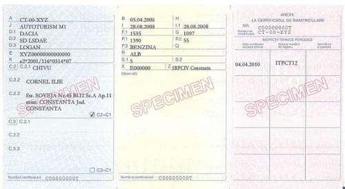 Certificat de Inmatriculare - Retro