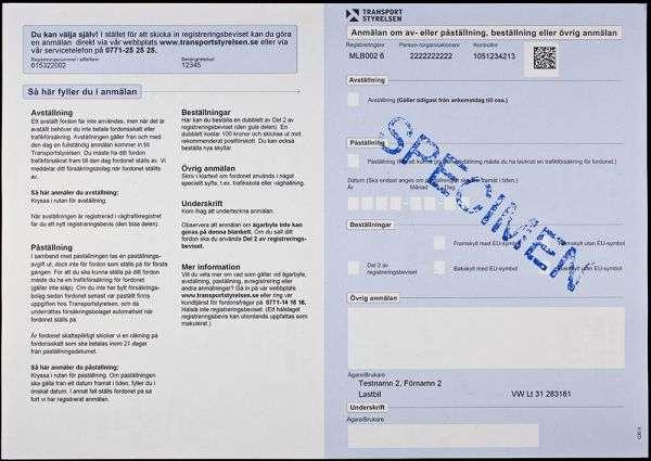 Carta di Circolazione - Svezia - Del 1 av registreringsbeviset - Retro
