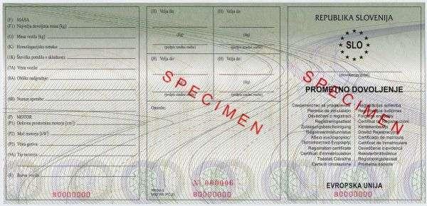 Carta di Circolazione - Slovenia - Prometno Dovoljenje - Fronte