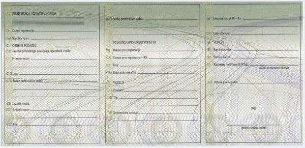 Carta di Circolazione - Slovenia - Prometno Dovoljenje - Retro