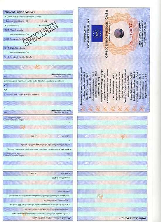 Carta di Circolazione - Slovacchia - Osvedčenie o Evidencii - Cast II - Fronte