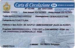 Carta di Circolazione RSM (Repubblica di San Marino) - Fronte