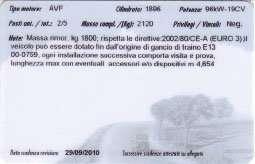 Carta di Circolazione RSM (Repubblica di San Marino) - Retro
